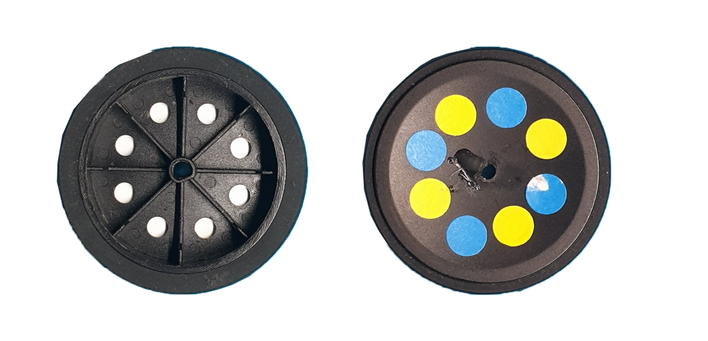 Modified wheels to be used with the odometry module